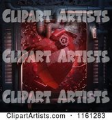 Red Hardware Heart with Gears and Pipes