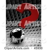 Red Question Mark Above a Black and White Globe on a Chrome Background