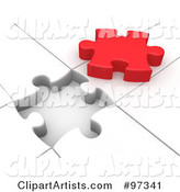 Red Solution Puzzle Piece on Top of a White Puzzle with an Open Space