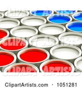 Red, White and Blue Cans of Paint in Rows - 1