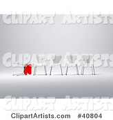 Rejected Red Chair Lying Beside a Row of White Standing Chairs