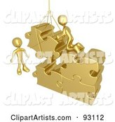 Rendered Gold Men Directing a Hoisted Puzzle Piece into a Space
