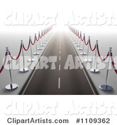 Road Bordered with Red Rope Stanchions and Leading into the Future