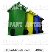 Row of Rolling Trash and Recycle Cans