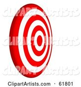 Side View of a Red and White 7 Ring Bullseye Target