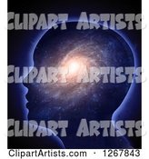Silhouetted Head with a Spiral Galaxy Inside