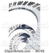 Spiral of Piano Keys over White