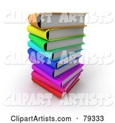 Stack of Colorful Literature Text Books - Version 2