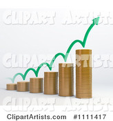 Stacked Coin Bar Graph with a Bouncing Arrow