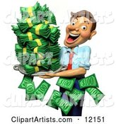 Successful Businessman Holding a Tray of Cash Money