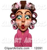 Surprised Woman in a Pink Robe and Curlers