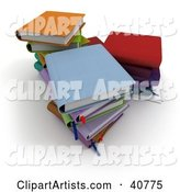 Three Stacks of Colorful School Books