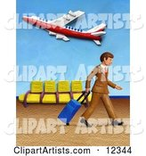 Traveling Businessman Walking in an Airport