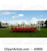 Windows Around a Red Conference Table in a Green Meadow