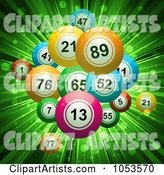 Background of Bingo or Lottery Balls over Green Rays