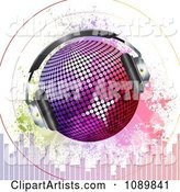 Gradient Disco Ball with Headphones Sound Signals Grunge and Equalizer Bars
