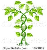 Green DNA Crop Gene Modification Helix Plant