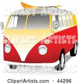 Orange and Yellow VW Van with a Surf Board on the Roof