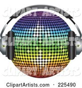 Rainbow Colored Disco Ball Wearing Headphones