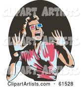 Scared Retro Woman Wearing Glasses, Screaming and Holding Her Hands up