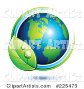 Shiny Green and Blue American Globe Circled with Blue and Green Lines and a Dewy Leaf