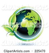 Shiny Green and Dark Blue African Globe Circled with Blue and Green Lines and Dewy Leaves
