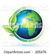 Shiny Gren and Blue African Globe Circled with Blue and Green Lines and Dewy Leaves