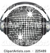 Silver Disco Ball Wearing Headphones