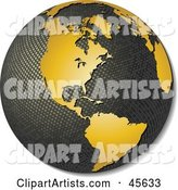 Textured Globe with Golden Continents, Featuring America