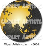 Textured Globe with Golden Continents, Featuring Asia