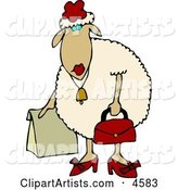Anthropomorphic Female Sheep (ewe) Shopping
