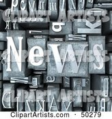 Background of Silver Typesetting Blocks with NEWS on Top