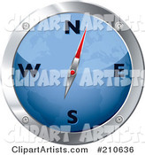 Blue and Chrome Map Compass