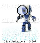 Blue and White AO-Maru Robot Walking on and Inspecting Binary Code with a Magnifying Glass