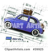 Blue Compact Car on a Design Sketch Background