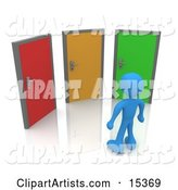 Blue Figure Standing in Front of Three Different Colored Doors, Symbolizing Different Paths to Take for Job Opportunities or Life Choices