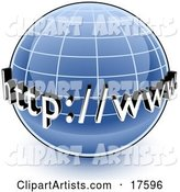 Blue Globe with a Graph and URL for the World Wide Web.