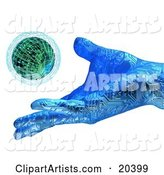 Blue Hand with Circuits, Releasing a Small Planet into the Atmosphere, Symbolizing Creation and Environment