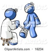 Blue Male Doctor in a Lab Coat, Sitting on a Stool and Bandaging a Blue Person That Has Been Hurt on the Head, Arm and Ankle