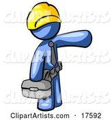 Blue Man, a Construction Worker, Handyman or Electrician, Wearing a Yellow Hardhat and Tool Belt and Carrying a Metal Toolbox While Pointing to the Right