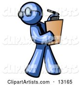 Blue Man Holding a Clipboard While Reviewing Employess