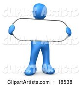 Blue Person Holding a Blank White Oval Sign