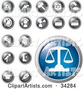 Blue Scales of Justice Icon Button with a Set of Legal, Entertainment, Art and Educational Icons