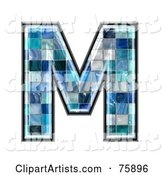 Blue Tile Symbol; Capital Letter M
