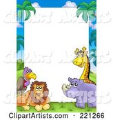 Border Frame of a Vulture, Lion, Rhino and Giraffe Around White Space