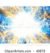 Bright Bursting Center with an Orange and Blue Fractal Border