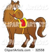 Brown Pony Wearing Reins and a Yellow and Red Saddle