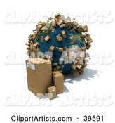 Cardboard Boxes Beside and Popping up Around Planet Earth