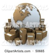 Cardboard Globe Surrounded by Shipping Parcels - Version 4