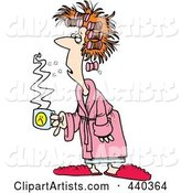 Cartoon Tired Woman with Bad Hair, Holding Coffee